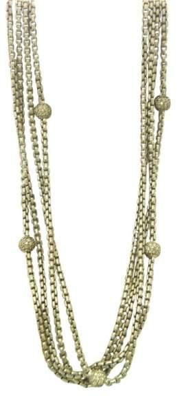 David Yurman 18K Yellow Gold & 925 Sterling Silver with Diamond Beads 4 Row Necklace