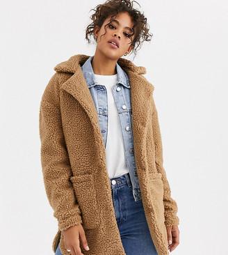 Brave Soul Tall kelsea coat in camel borg
