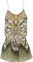 Camilla Flamenco Sweep Embellished Printed Washed-silk Playsuit - Army green