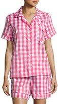 BedHead Gingham Shorty Pajama Set, Hot Pink