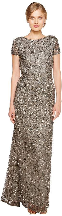 Adrianna Papell Cap Sleeve Scoop Back Beaded Down Gown Women's Dress