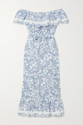 Marysia Swim Lemnos Belted Off-the-shoulder Perforated Floral-print Cotton Midi Dress - Blue