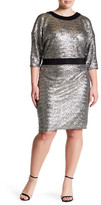 ABS by Allen Schwartz Dolman Sleeve Sequin Dress (Plus Size)