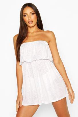 boohoo Burnout Jersey Bandeau Beach Dress