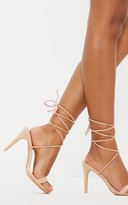 Barely There Stylish Nude Ankle Tie Strappy Sandal