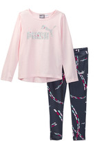 Puma Long Sleeve Tee & Legging Set (Little Girls)