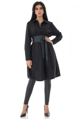 AIMELIA Oversized Black cotton shirt dress with a button-down front