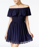 Trixxi Juniors' Eyelet Off-The-Shoulder Dress