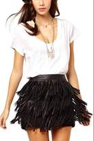 Zilcremo Women's Casual Tassels Mini PU Bodycon Clubwear Fringe Skirt S