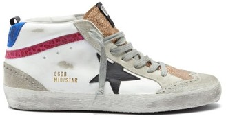 Golden Goose Mid Star High-top Leather Trainers - White Multi