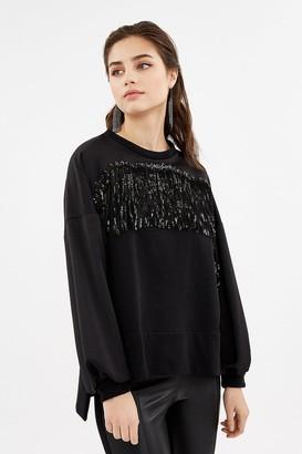 Coast Long Sleeve Fringe Detail Sweatshirt
