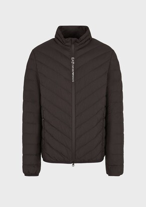 Ea7 Puffer Jacket With Full-Length Zip Closure And Crest