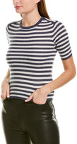 Vince Striped Elbow Sleeve Cashmere Pullover