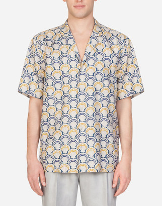 Dolce & Gabbana Cotton And Silk Hawaii Shirt With Scallop Shell Print