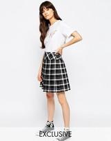 Asos Le Kilt for Mono Plaid Pleat Mini Kilt