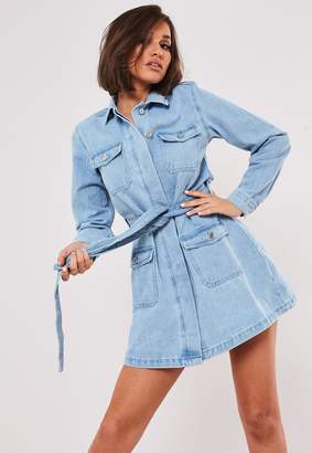 Missguided Tall Blue Light Wash Denim Belted Jacket Dress
