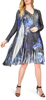 Komarov Floral Tiered Chiffon Dress with Long Sleeve Jacket