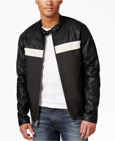 GUESS Men's Faux-Leather Full-Zip Motorcycle Jacket