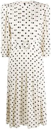 Alessandra Rich Pleated Polka Dot Dress