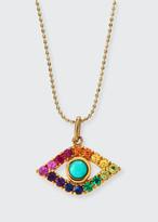 Sydney Evan Large Evil Eye Rainbow Sapphire Pendant Necklace