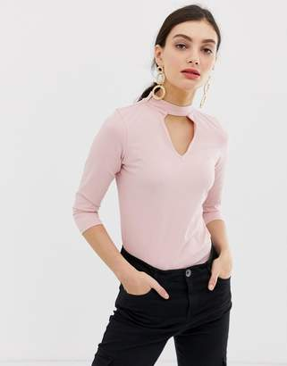 Benetton Body with 3/4 arm roll neck and keyhole cut out-Pink