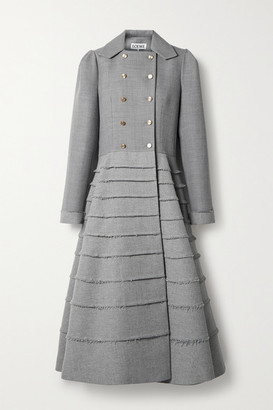 Loewe Double-breasted Frayed Wool Coat - Gray