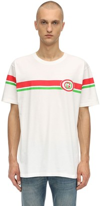 Gucci Gg Interlock Logo Printed Cotton T-Shirt