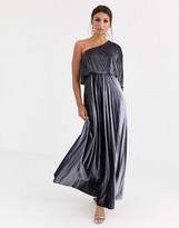 Asos Design DESIGN one shoulder pleated crop top maxi dress in velvet