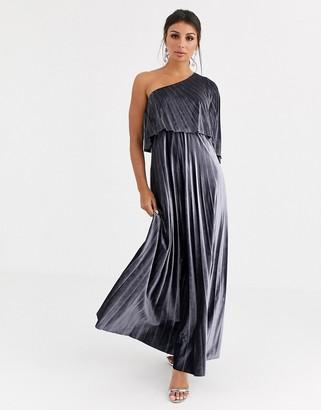 ASOS DESIGN one shoulder pleated crop top maxi dress in velvet