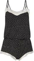 Eberjey Dominique Lace-trimmed Printed Stretch-modal Jersey Playsuit - Black