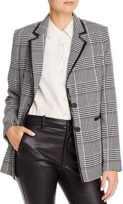 Karl Lagerfeld Paris Faux Leather-Trimmed Plaid Blazer