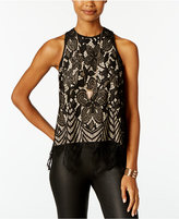Almost Famous Juniors' Scalloped Lace Tank Top