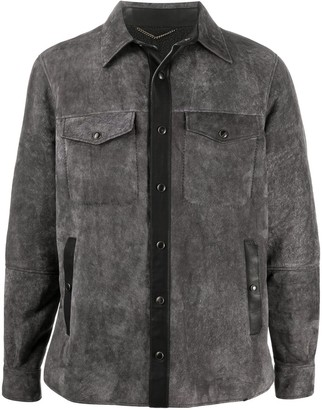 Ajmone Leather-Trimmed Suede Shirt Jacket