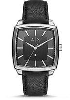 Armani Exchange Nico Square Analog Leather-Strap Watch