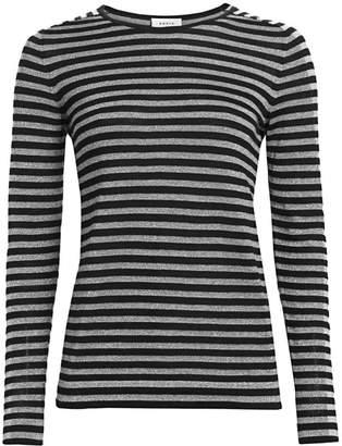 Akris Punto Metallic Stripe Wool-Blend Pullover