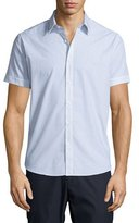Theory Coppolo C. Durhem Mini-Check Short-Sleeve Shirt, White