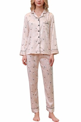 YAOMEI Womens Pyjamas Set Satin Ladies Silky Long Sleeves Nighties Couples PJ Set Sleepwear Nightwear Luxury Lingerie Button Pocket Front Shirt Top with Bottoms Pants (M