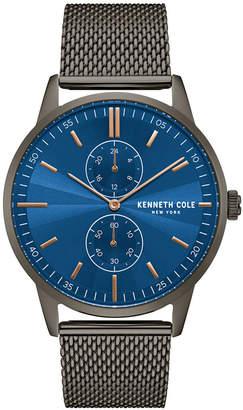 Kenneth Cole New York Men Multifunction Gun Metal Mesh Bracelet Watch 44mm