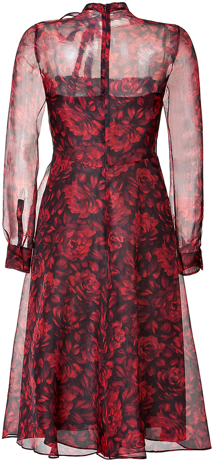 Valentino Silk Organza Floral Print Dress in Black/Red