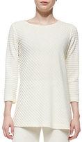Caroline Rose Ottoman Knit 3/4-Sleeve Tunic, Ivory, Plus Size