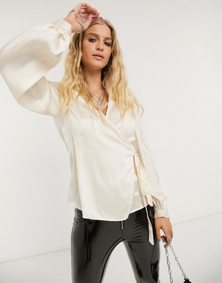 Object satin wrap blouse with volume sleeves in champagne
