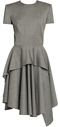 Alexander McQueen Sharkskin Wool Peplum Dress
