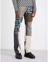 Lanvin Patchwork Cotton And Linen-blend Trousers