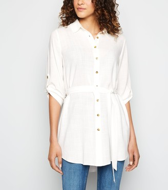 New Look Belted Waist Long Dip Hem Shirt