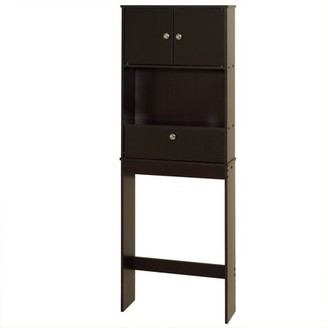 Zenna Home Drop Door Over the Toilet Bathroom Storage Space Saver, with 2-Door Cabinet, Espresso