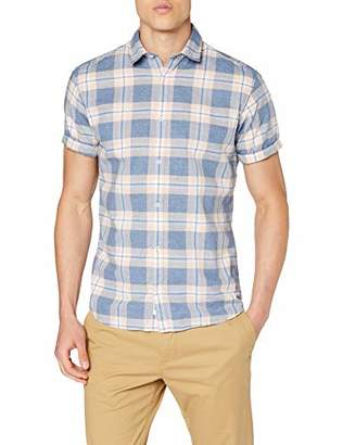 Jack and Jones Men's Jprsummer Check Shirt S/s Casual, Multicolour (Navy Blazer Slim Fit), Large