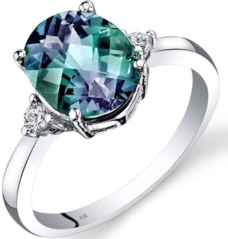 Oravo 14K White Gold 3 ct Oval Shape Created Alexandrite and Diamond Ring Size - 7