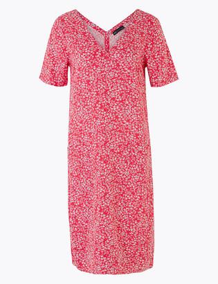 Marks and Spencer Linen Ditsy Floral V-Neck Shift Dress