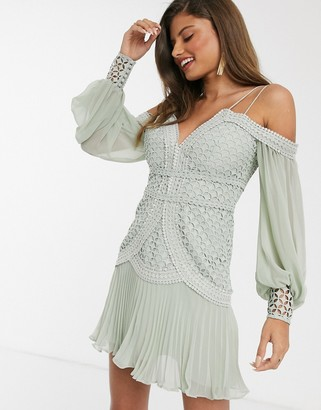 ASOS DESIGN lace mini dress with blouson sleeve and pleated hem in sage