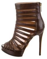 Herve Leger Striped Leather Boots